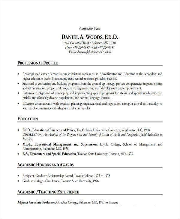 higher education executive resume