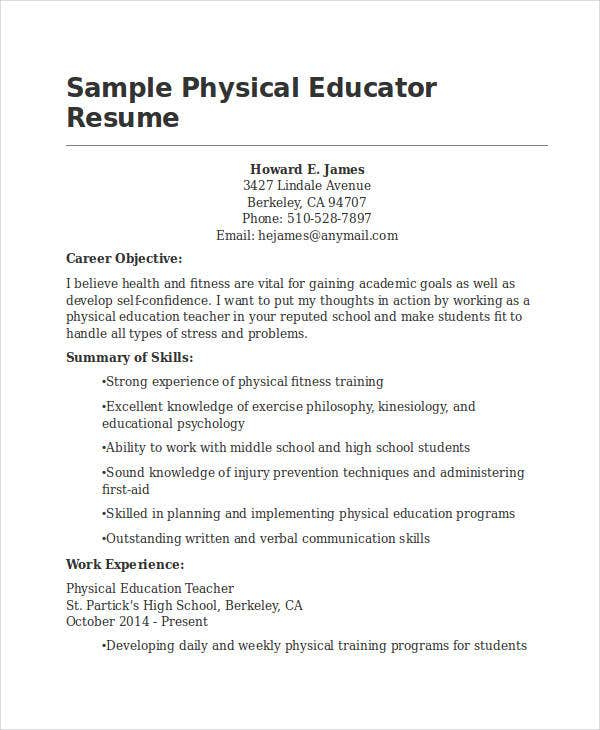 sample physical educator resume details file format teachers free download teacher templates word in