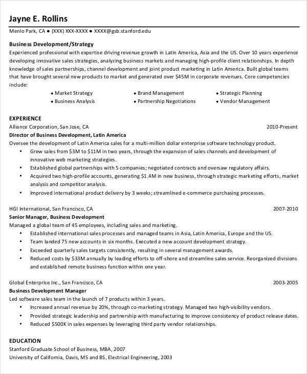 business project manager resume - Business Development Manager Resume