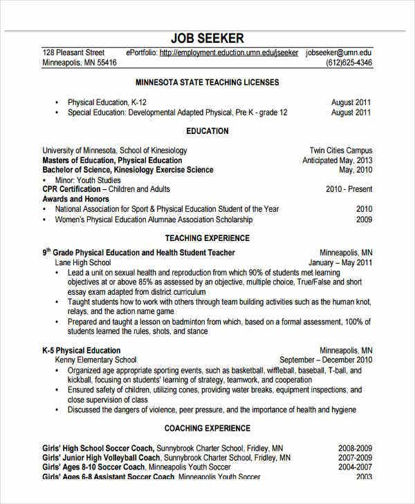 Physical Education Director Resume  Physical Education Resume