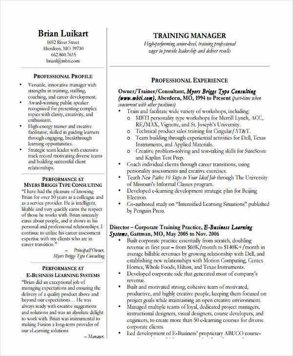 education and training manager resume - Training Manager Resume