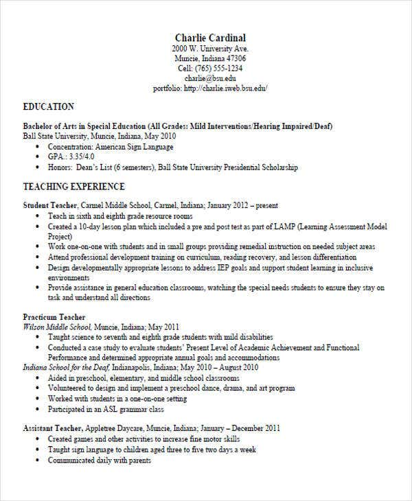 elementary special education teacher resume