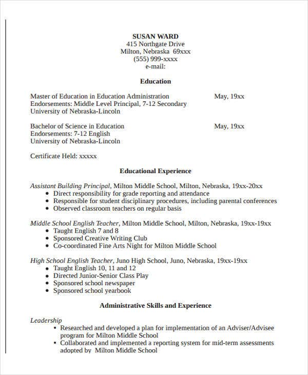 education administration resume format
