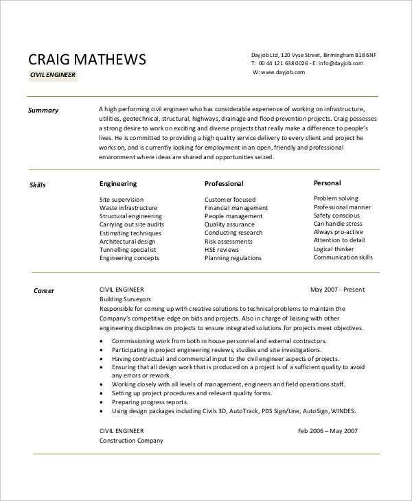 Free Engineering Resume Templates   Free Word Pdf Documents