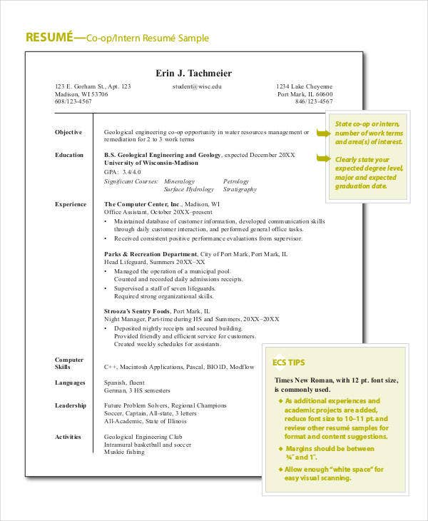 sample engineering internship resume2