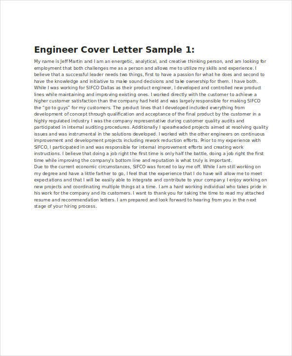 Sample Engineering Resume Cover Letter