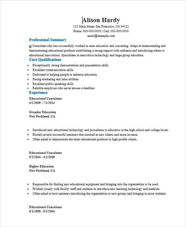 education consultant - Education Consultant Resume