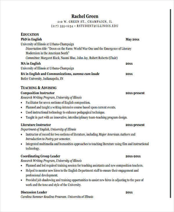 modern education teacher resume