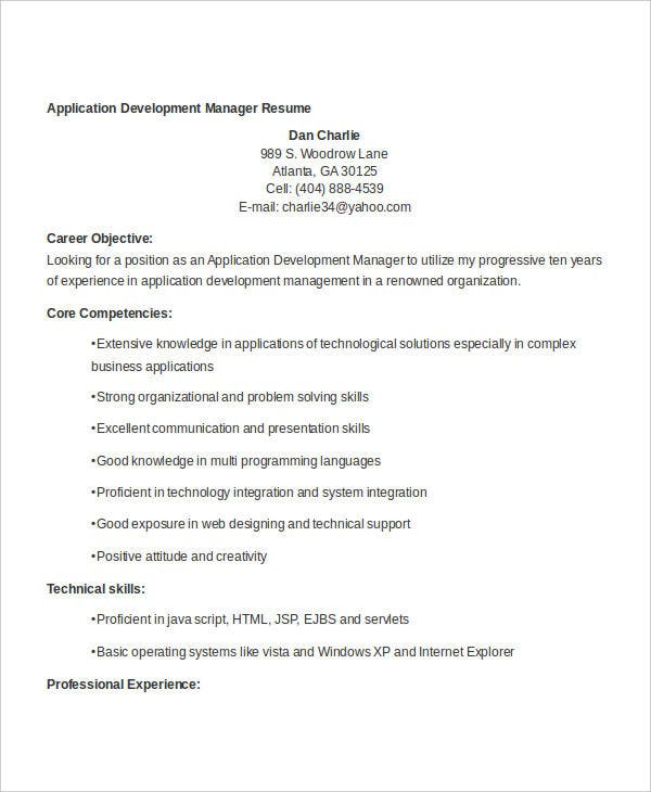 Professional Development Manager Resume Templates Software