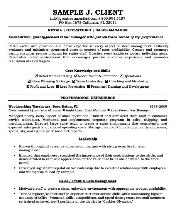 resume samples for retail management position templates positions examples operations manager