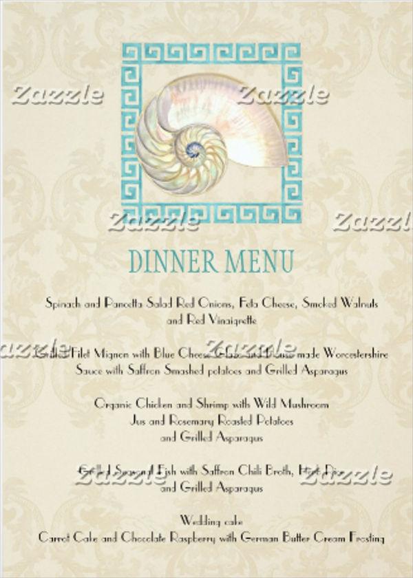 Formal Dinner Menu Design