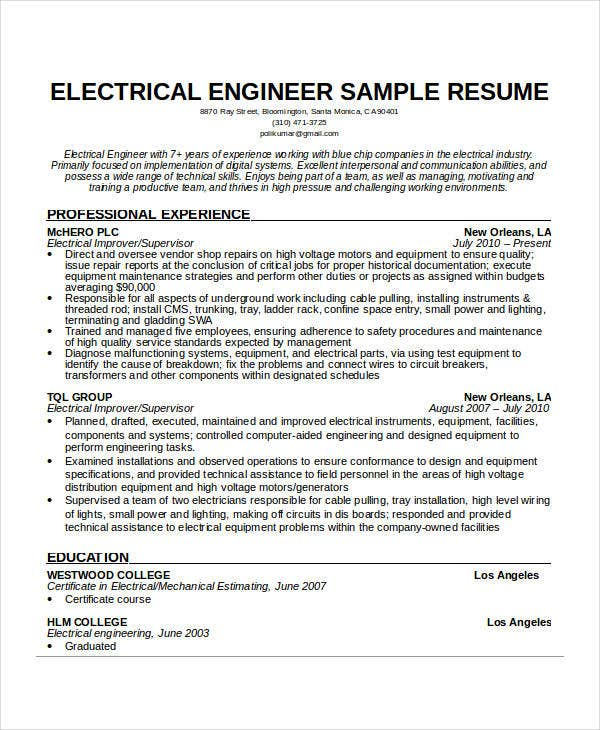 Free engineering resume templates 49 free word pdf for Sample resume of an electrical engineer