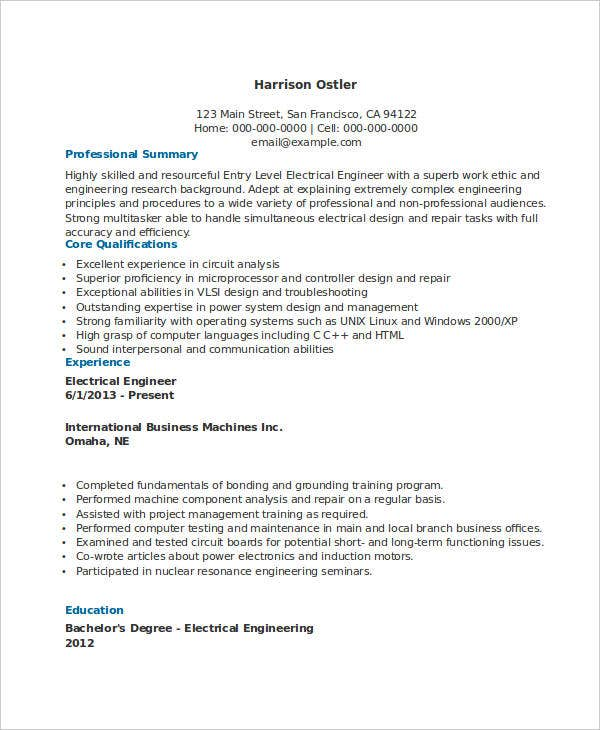 electrical engineering resume entry level