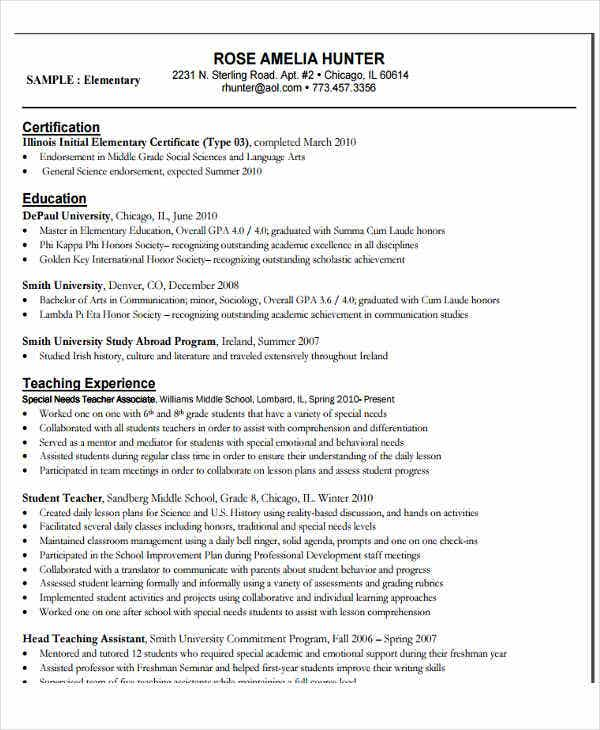 free elementary education resume