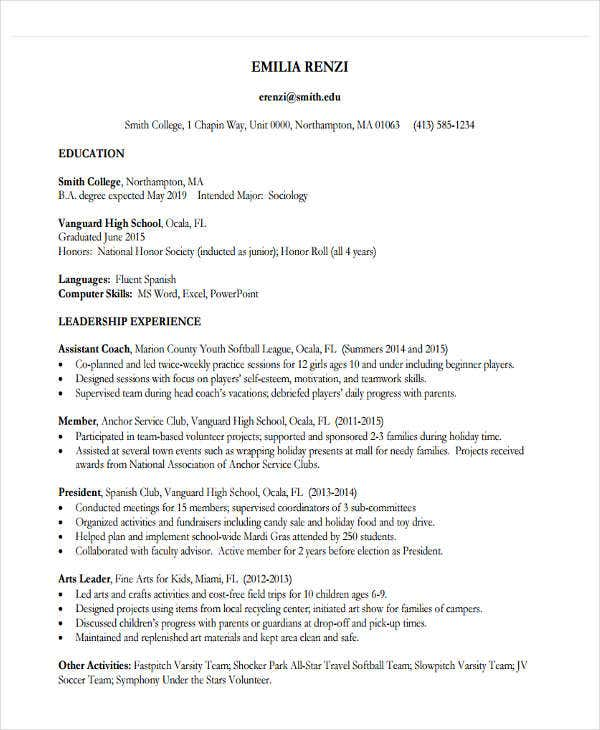 free education resume example