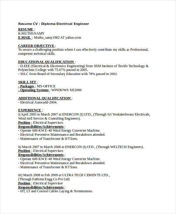 diploma electrical engineering resume1