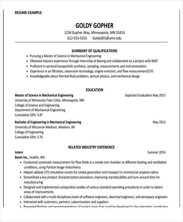 resume sample education part