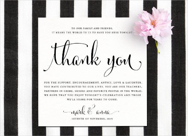 diy reception thank you card