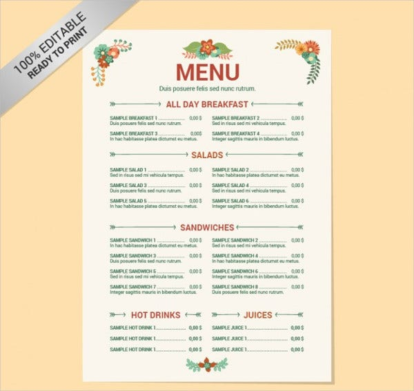 Menu List Sample. Sample-Menu-10 Sample Catering Menus | Loustic