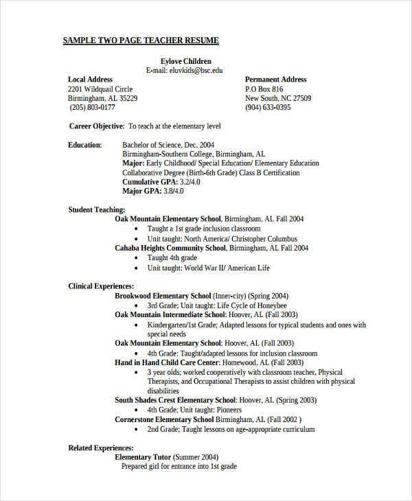 elementary education teacher resume1