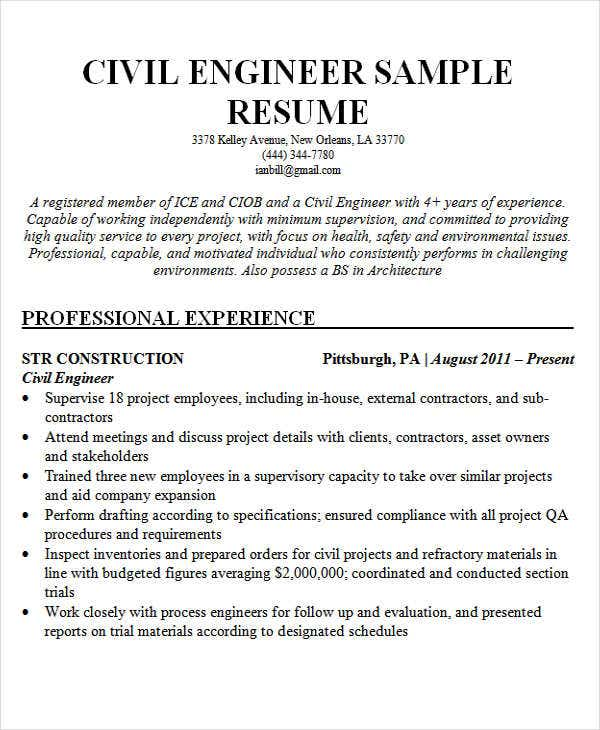 Civil Engineering Sample  Best Engineering Resume