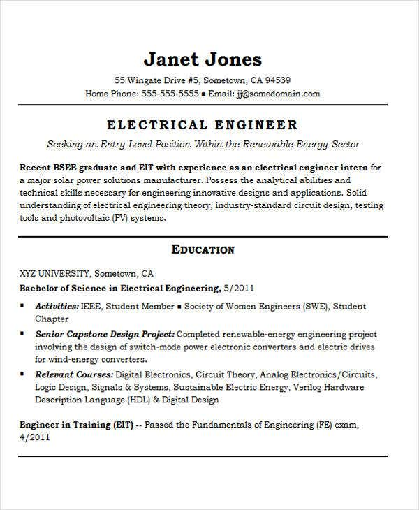 Entry Level Electrical Engineering  Eit On Resume