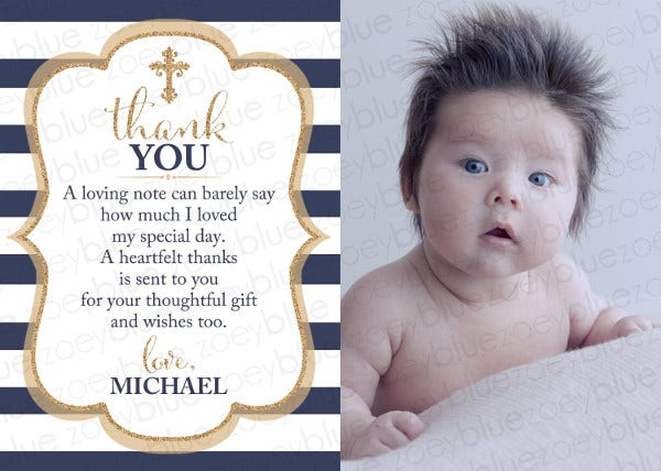 baptism thank you photo card