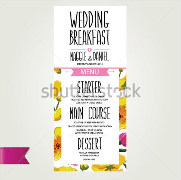 wedding breakfast menu design