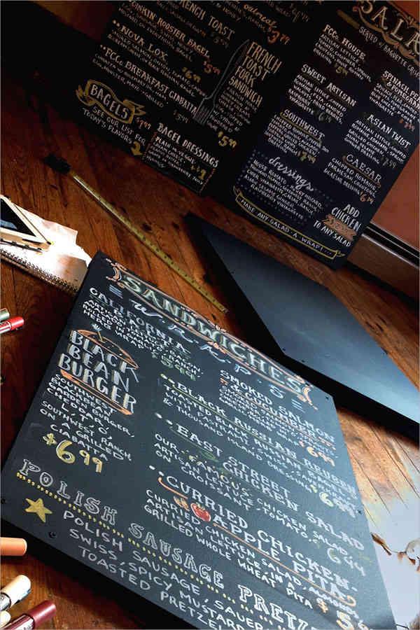chalkboard lettering menu design