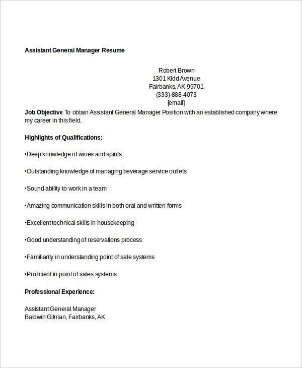 assistant general manager resume1