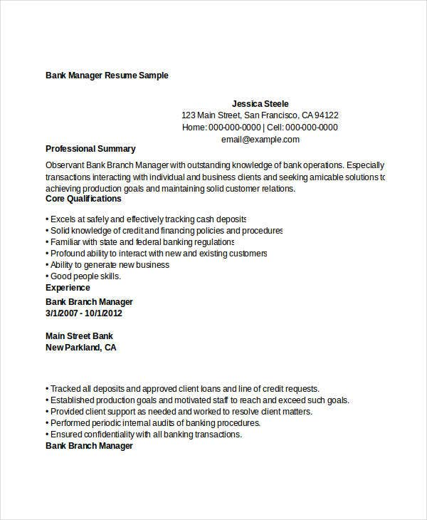 bank manager resume sample livecareercom