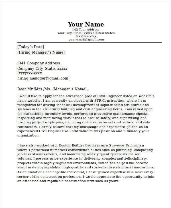 engineering resume cover letter example