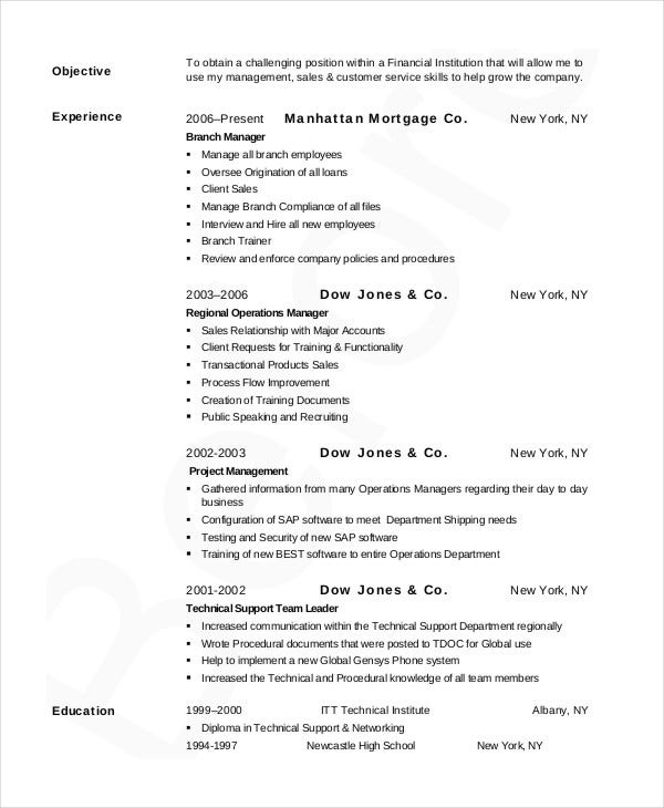 sample bank manager resume