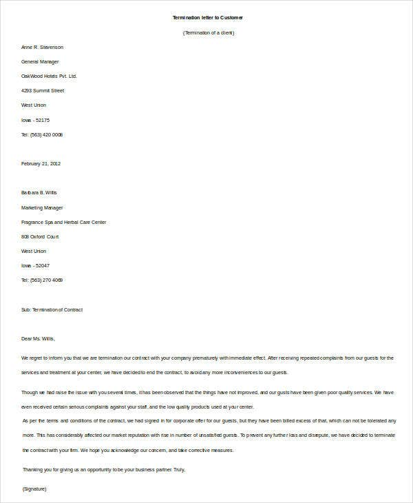 Contract Termination Letter to Customer