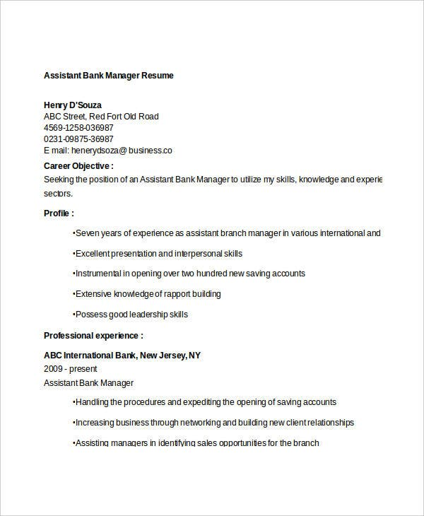 Professional Bank Manager Resume Templates