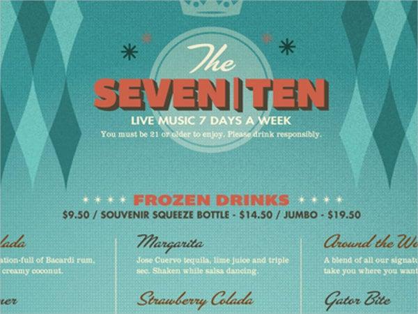 free drink menu design