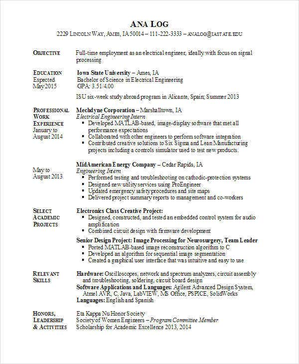 25 best engineering resume templates pdf doc free for Sample resume of an electrical engineer