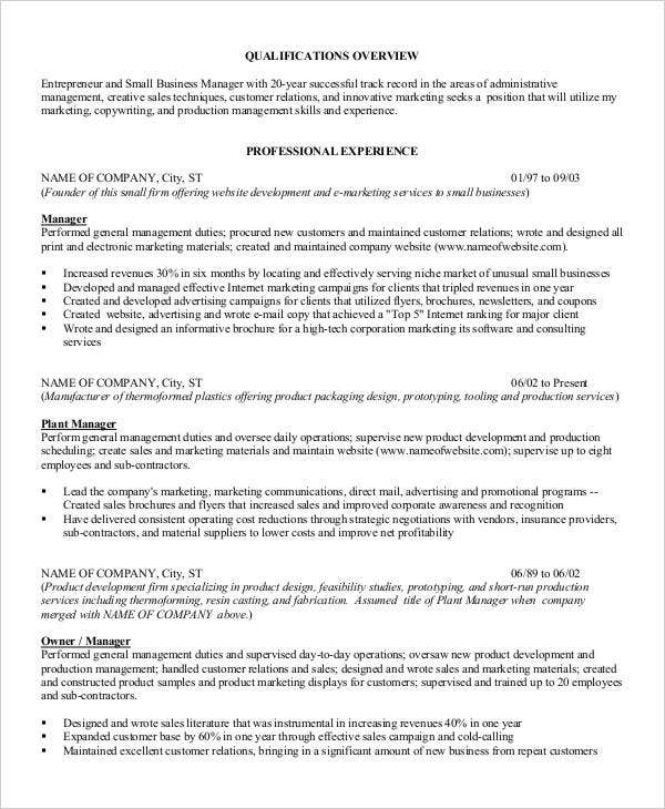small business manager resume - Business Manager Resume