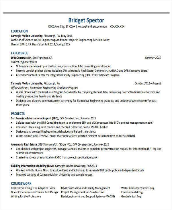 Sample Engineering Intern Resume