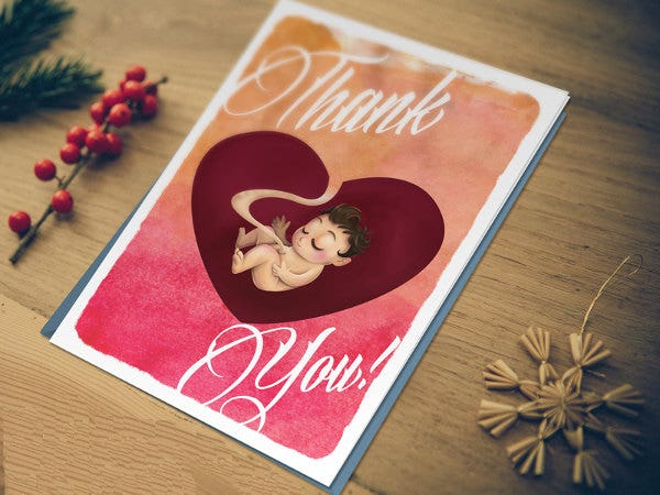 diy baby thank you card