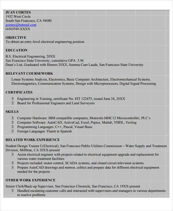 electrical and electronics engineering resume1