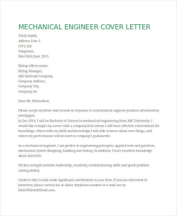 mechanical engineering resume cover letter