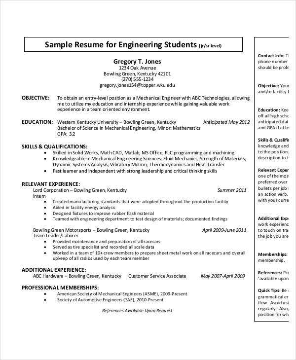 Entry Level Mechanical Engineering Resume  Resume For Mechanical Engineer