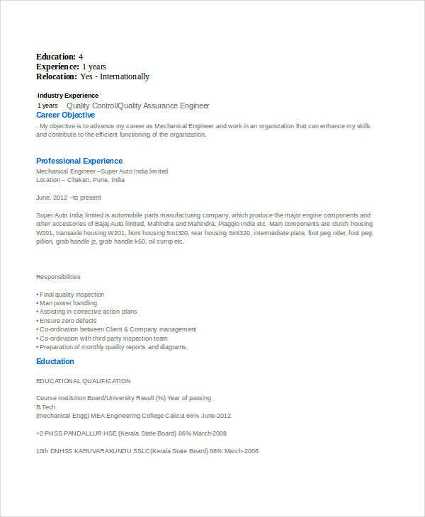 mechanical engineering experienced resume