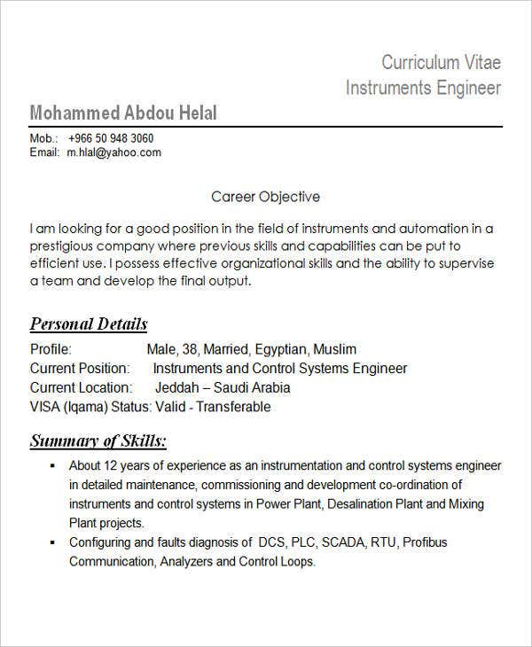 Instrumentation Engineering Resume Format
