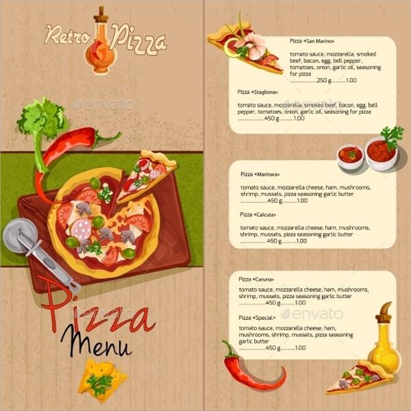 pizza menu card design