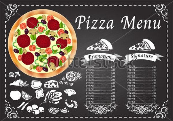 retro pizza menu design