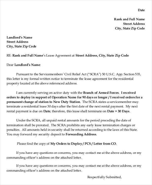 Letter for Termination of Residential Lease