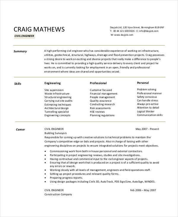 Civil Engineering Resume Sample  Construction Project Engineer Resume