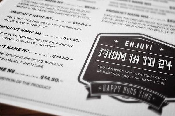 business party menu design